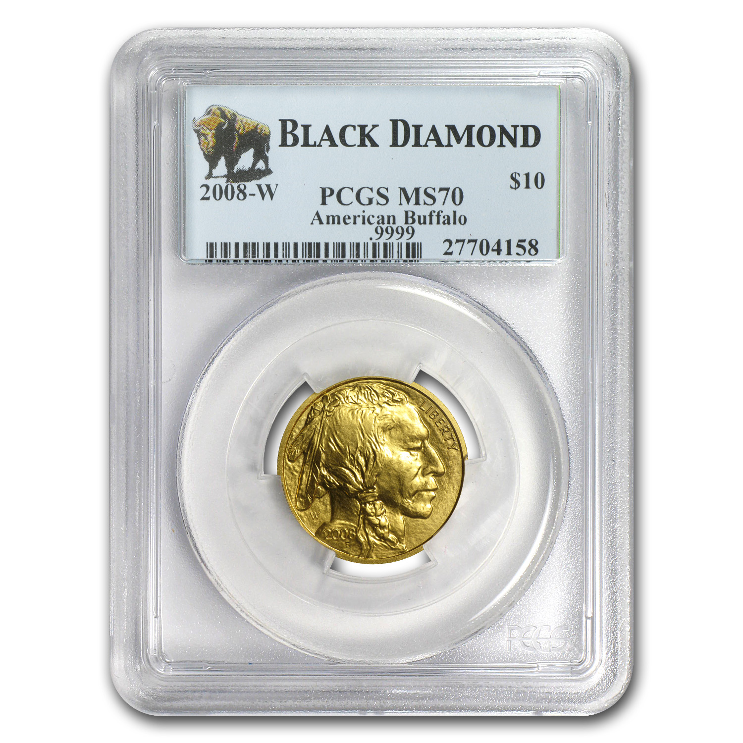 2008-W 1/4 oz Gold Buffalo SP/MS-70 PCGS (Black Diamond)