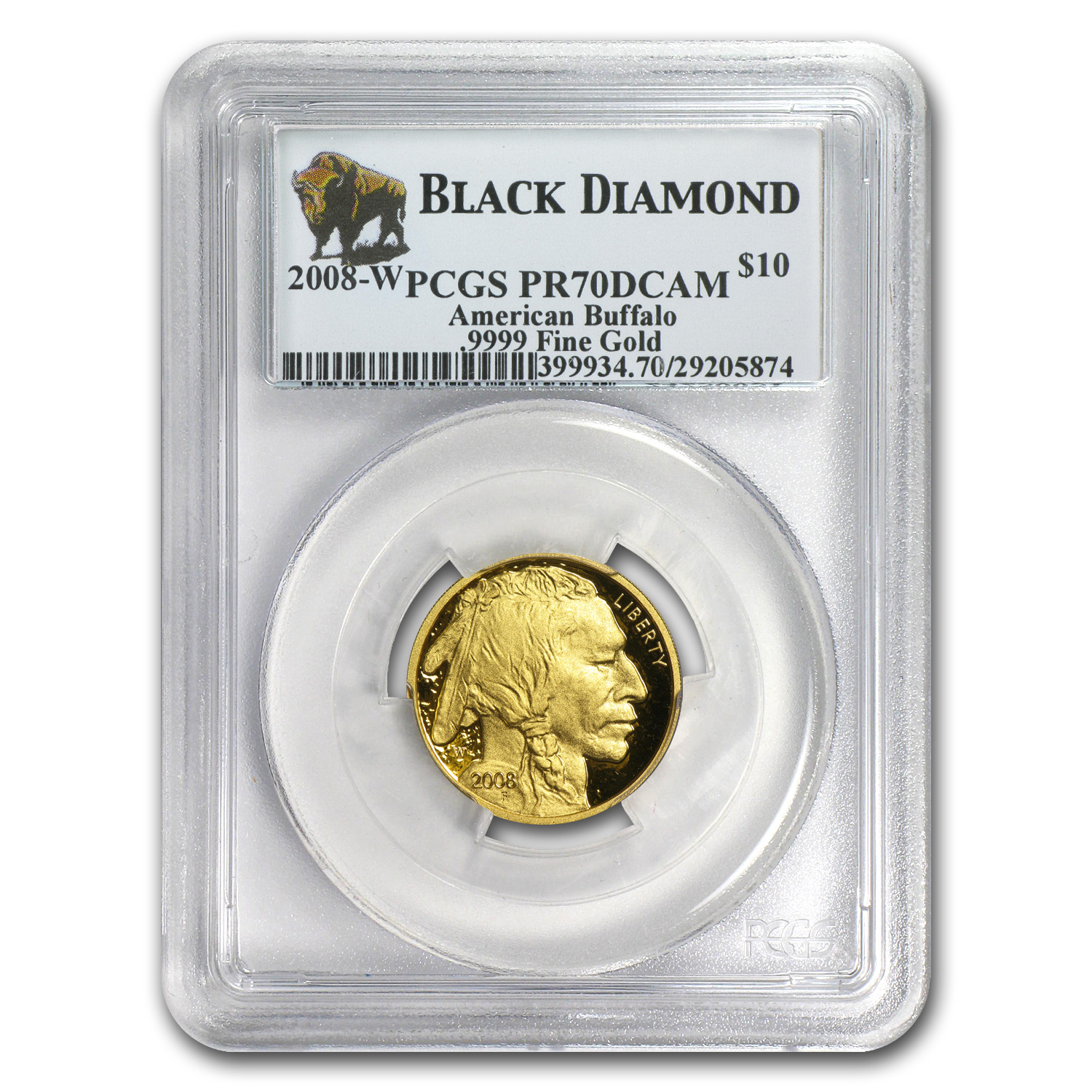 2008-W 1/4 oz Gold Buffalo PR-70 DCAM PCGS (Black Diamond)