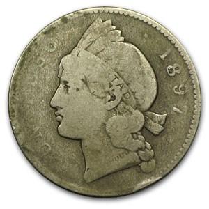 1897 A Dominican Republic Silver 1 Peso Vg Silver