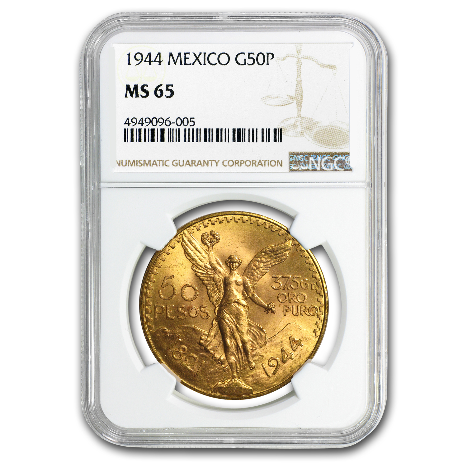 1944 Mexico Gold 50 Pesos MS-65 NGC