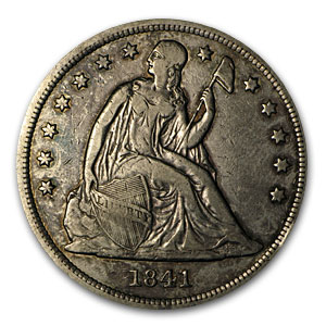 1841 Liberty Seated Dollar XF