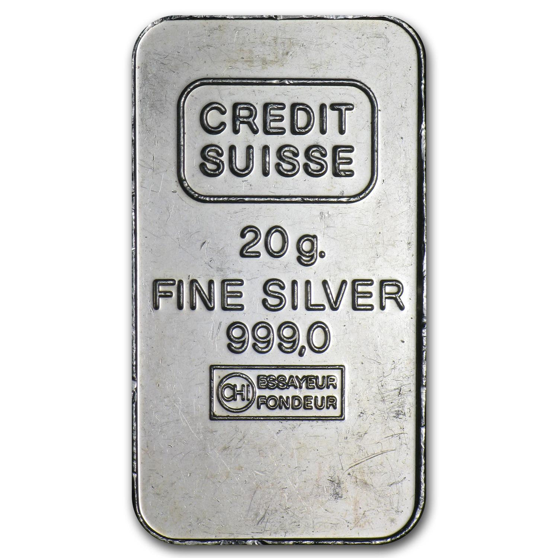 20 Gram Silver Bar Credit Suisse Fractional Less Than