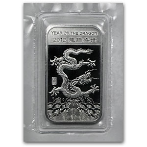 1 oz Silver Bars - APMEX (2012 Year of the Dragon)