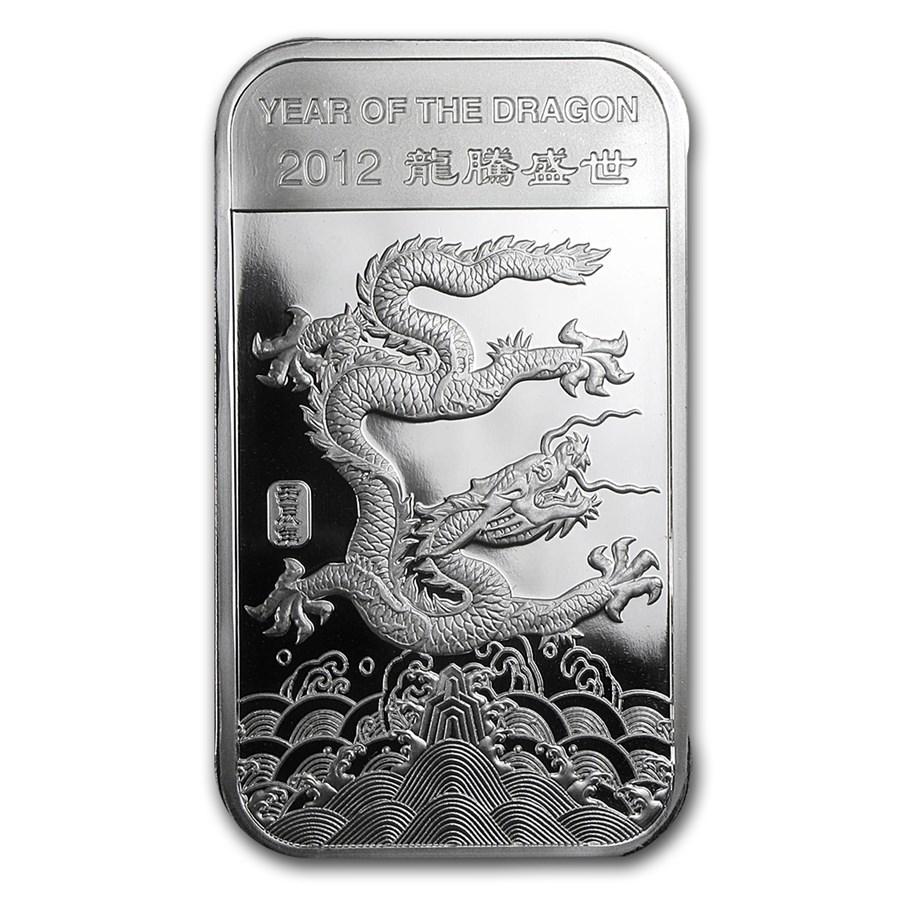 5 Oz Silver Bar Apmex 2012 Year Of The Dragon Lunar