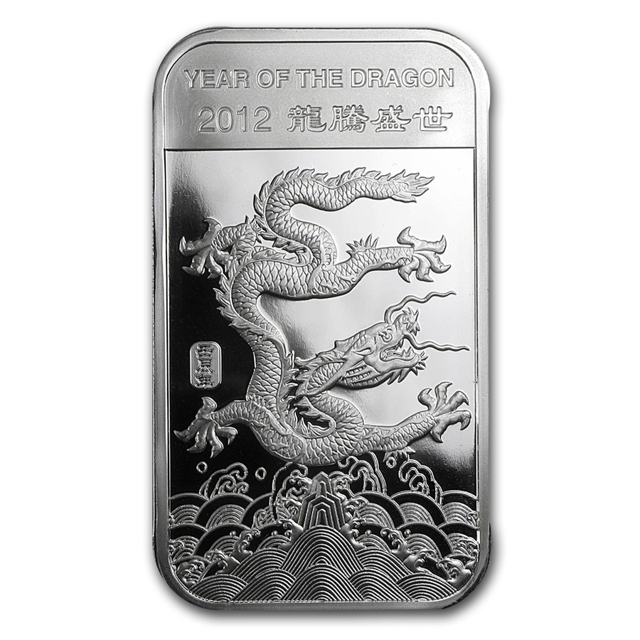 10 Oz Silver Bar Apmex 2012 Year Of The Dragon 10 Oz