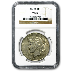 1934-S Peace Dollar VF-30 NGC