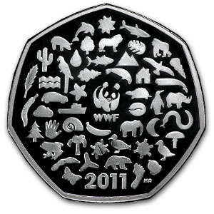 2011 Great Britian Silver 50p 50th Anniv. WWF Proof (Piedfort)