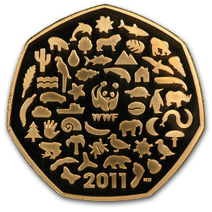 50th Anniversary - WWF 50p Piedfort Proof Gold Coin AGW .4983