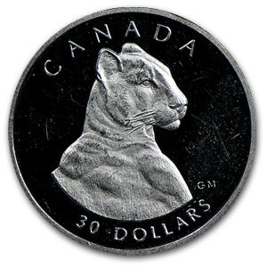 1992 Canada 1/10 oz Proof Platinum Cougar
