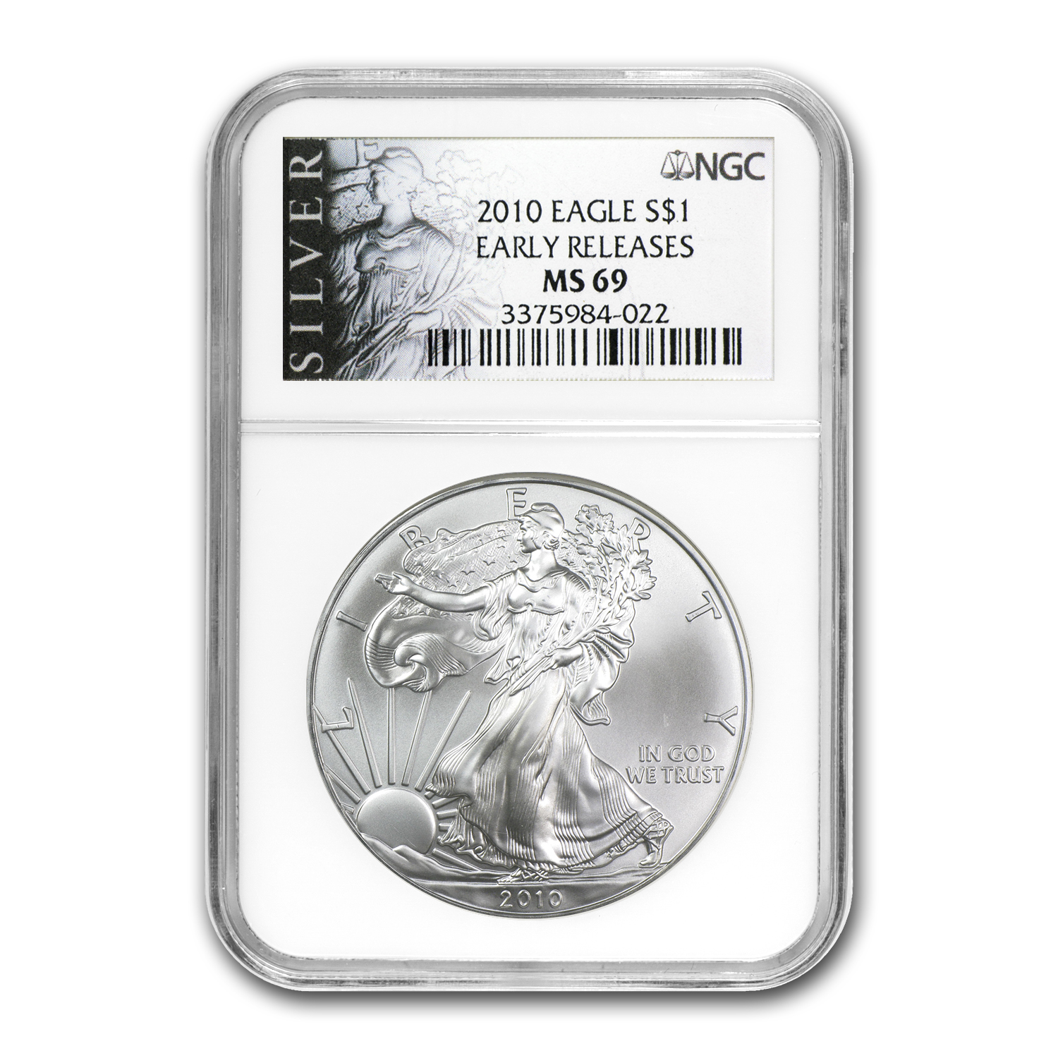 2010 Silver American Eagle MS-69 NGC (Black Label, ER)