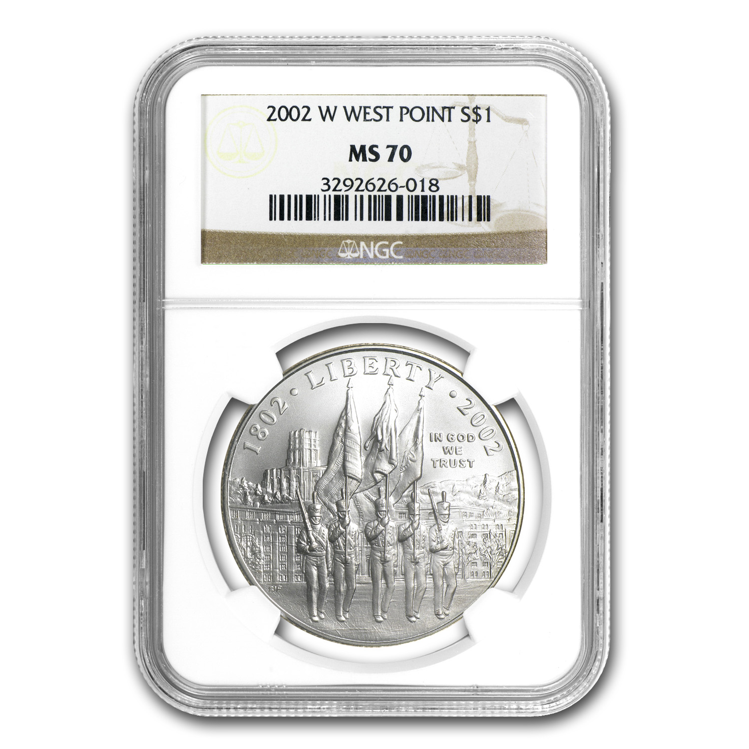 2002-W West Point Bicentennial $1 Silver Commem MS-70 NGC