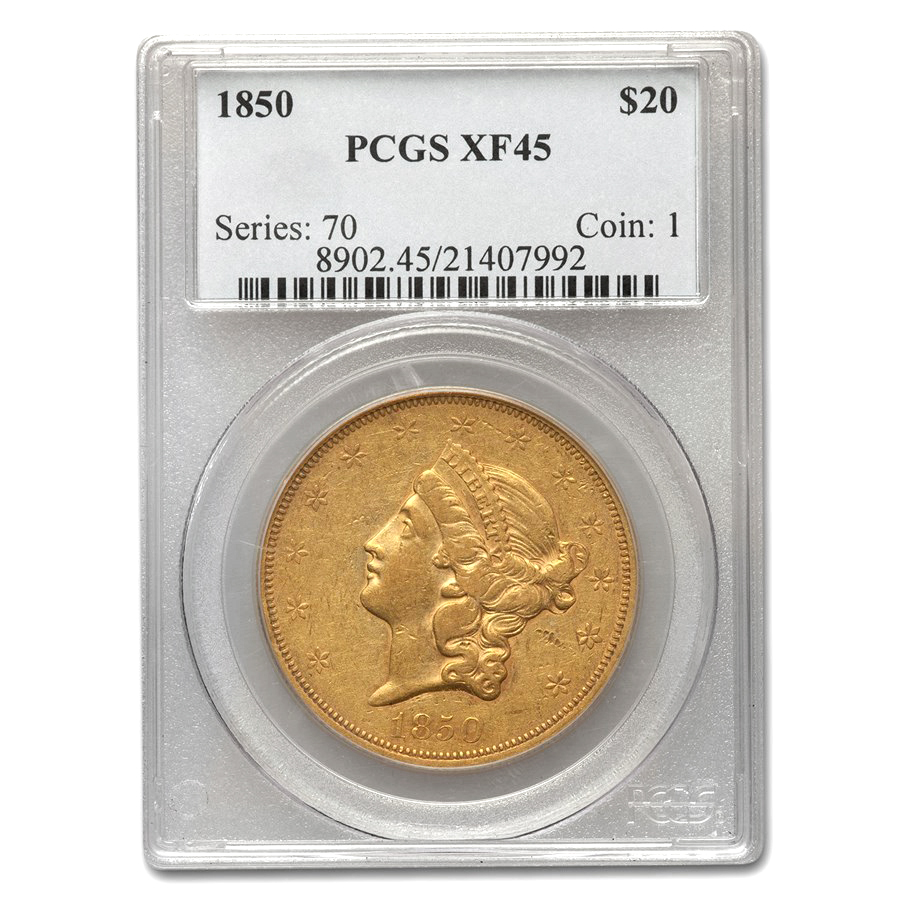 1850 $20 Liberty Gold Double Eagle XF-45 PCGS