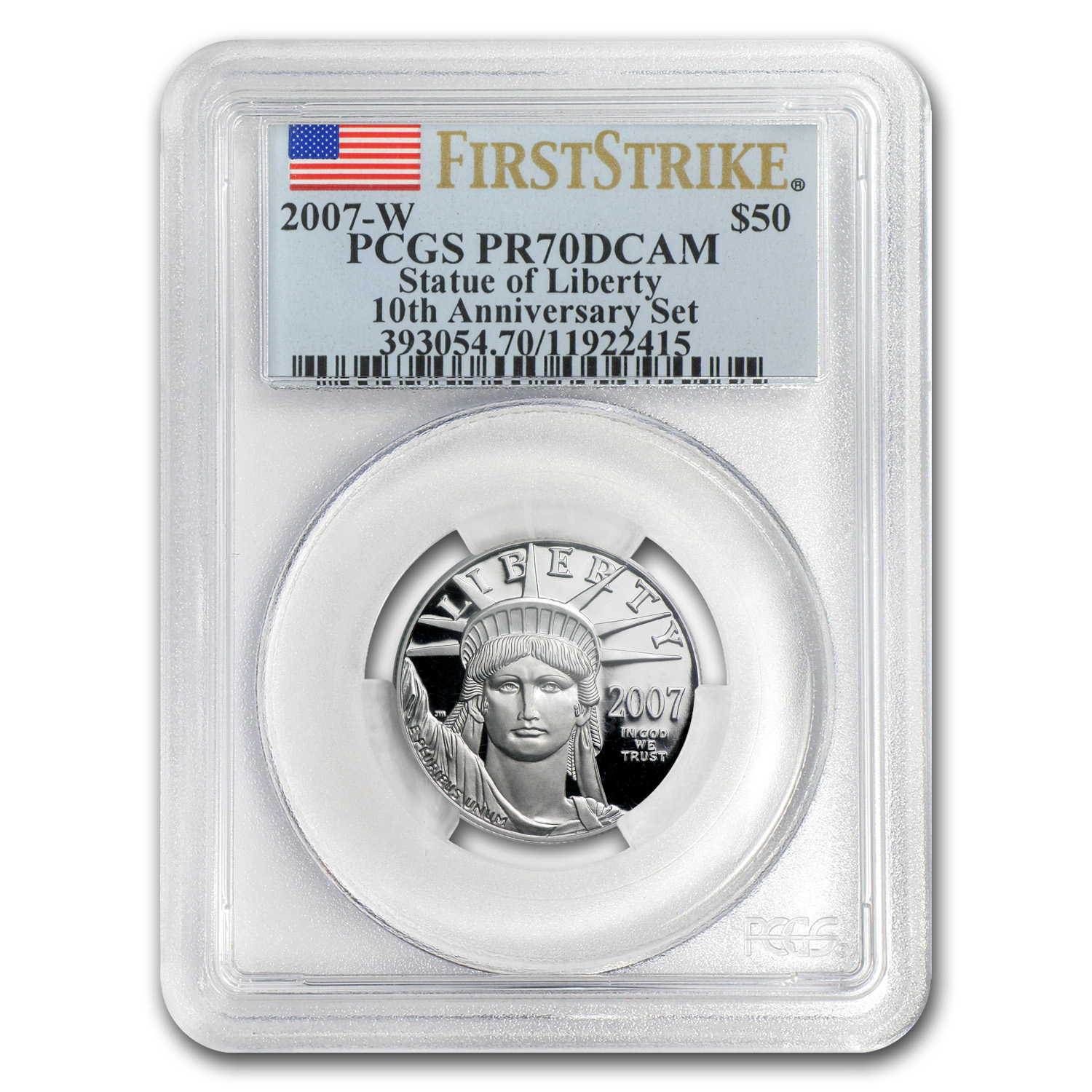 2007-W 1/2 oz Proof Platinum Eagle PR-70 PCGS (FS, 10th Anniv)