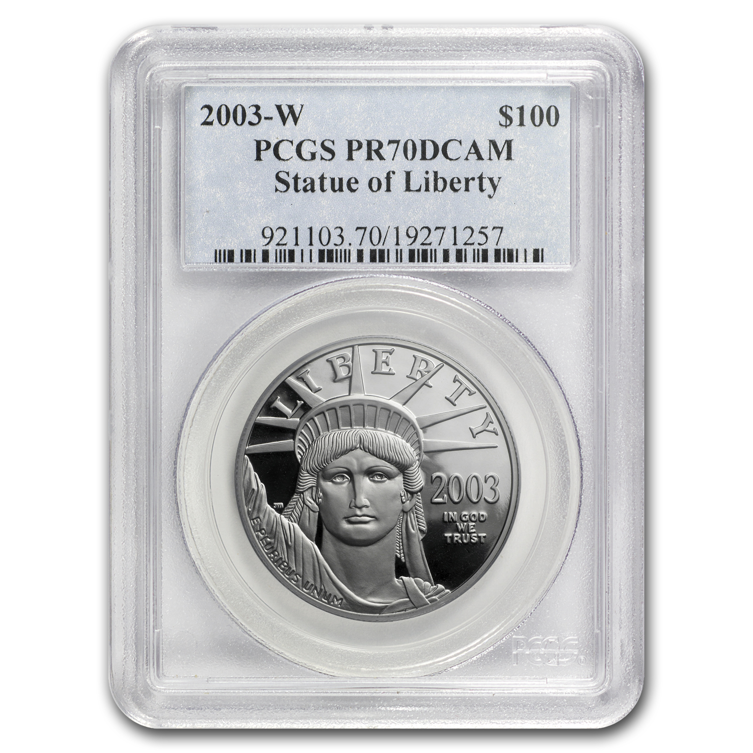 2003-W 1 oz Prf Platinum American Eagle PR-70 PCGS (Registry Set)