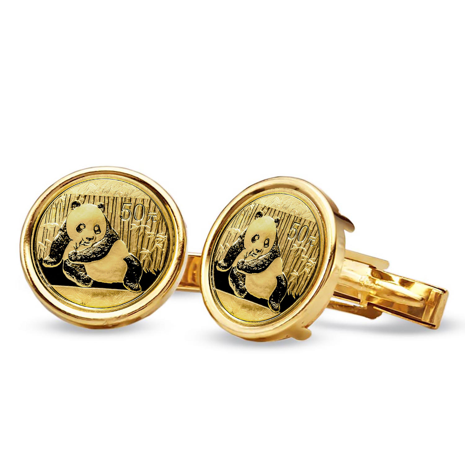 14k Gold Plain Polished Coin Cuff Links - 18mm