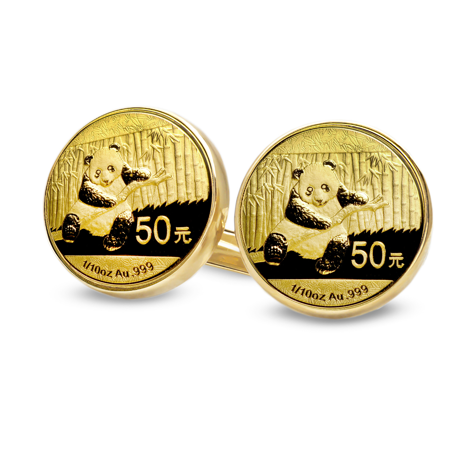 2014 1/10 oz Gold Panda Cuff Links (Polished Plain)