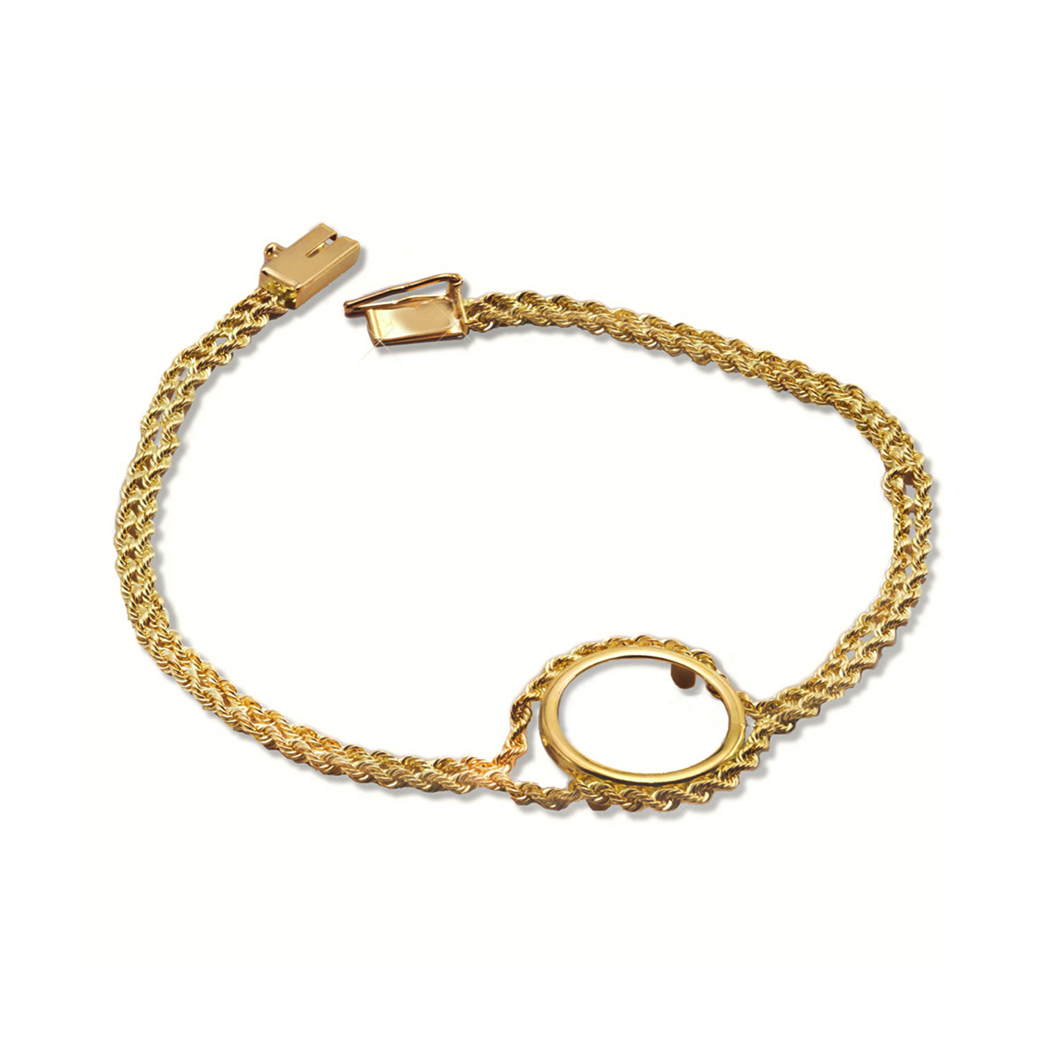 14k Gold Polished Rope Bracelet - 7 inches (14 mm)