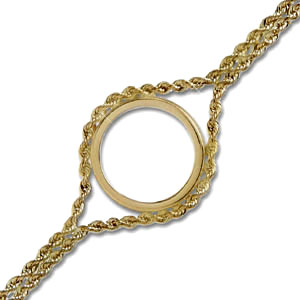 14k Gold Polished Rope Coin Bracelet - 7 inches
