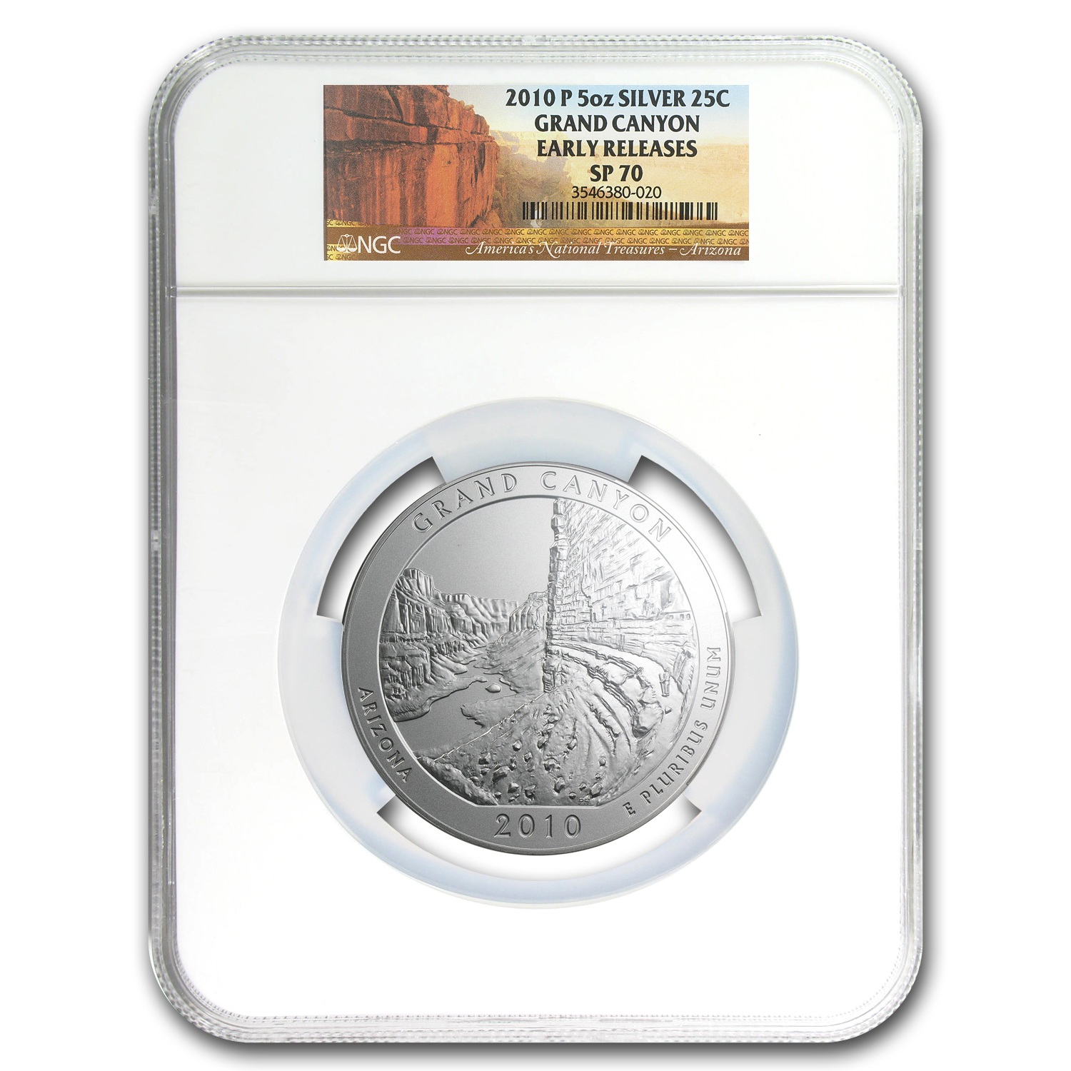 2010-P 5 oz Silver ATB Grand Canyon SP-70 NGC (Early Releases)