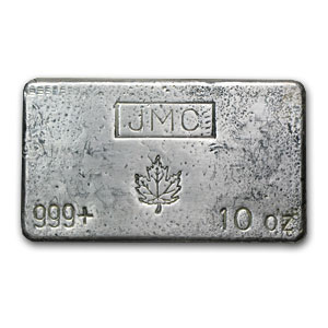 10 oz Silver Bar - Johnson Matthey Canada (Poured, Maple Leaf)