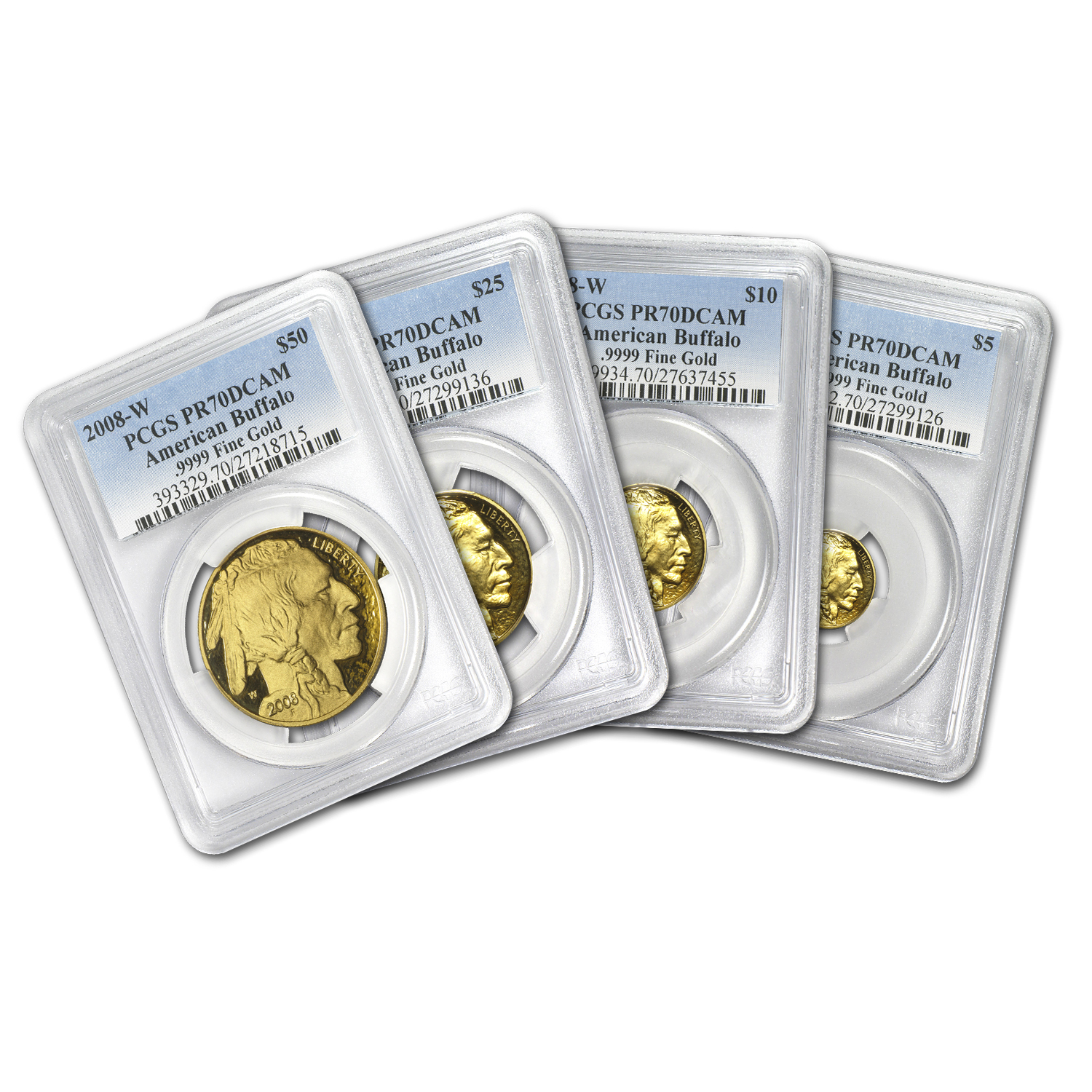 2008-W 4-Coin Gold Buffalo Set PR-70 PCGS (Black Diamond)