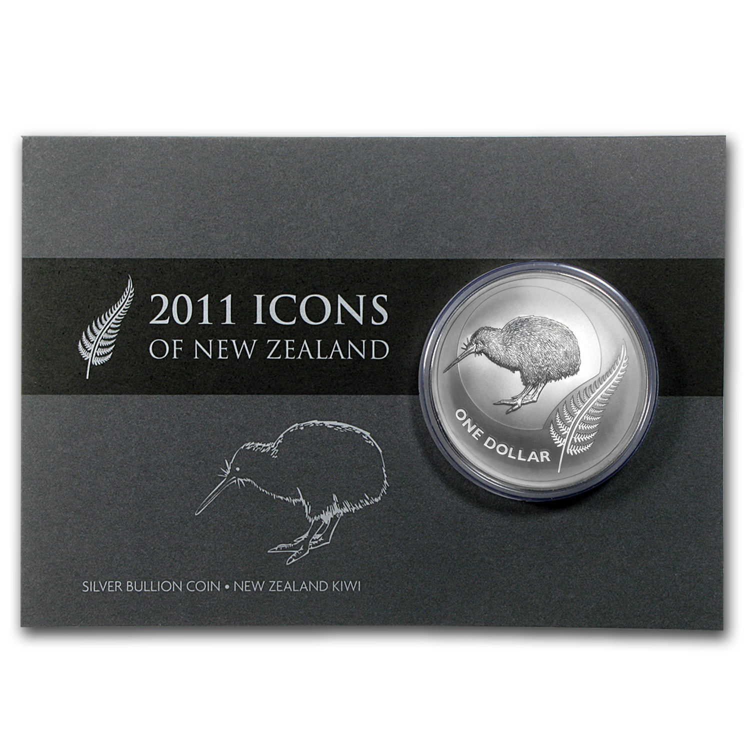 2011 1 oz Silver New Zealand Icons $1 Kiwi BU (w/Card)