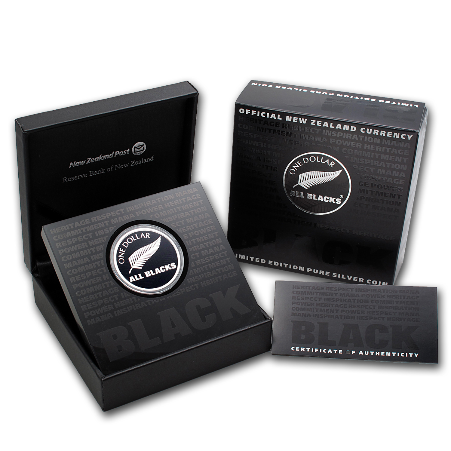 2011 New Zealand 1 oz Silver All Blacks Silver Fern Proof (W/Box)