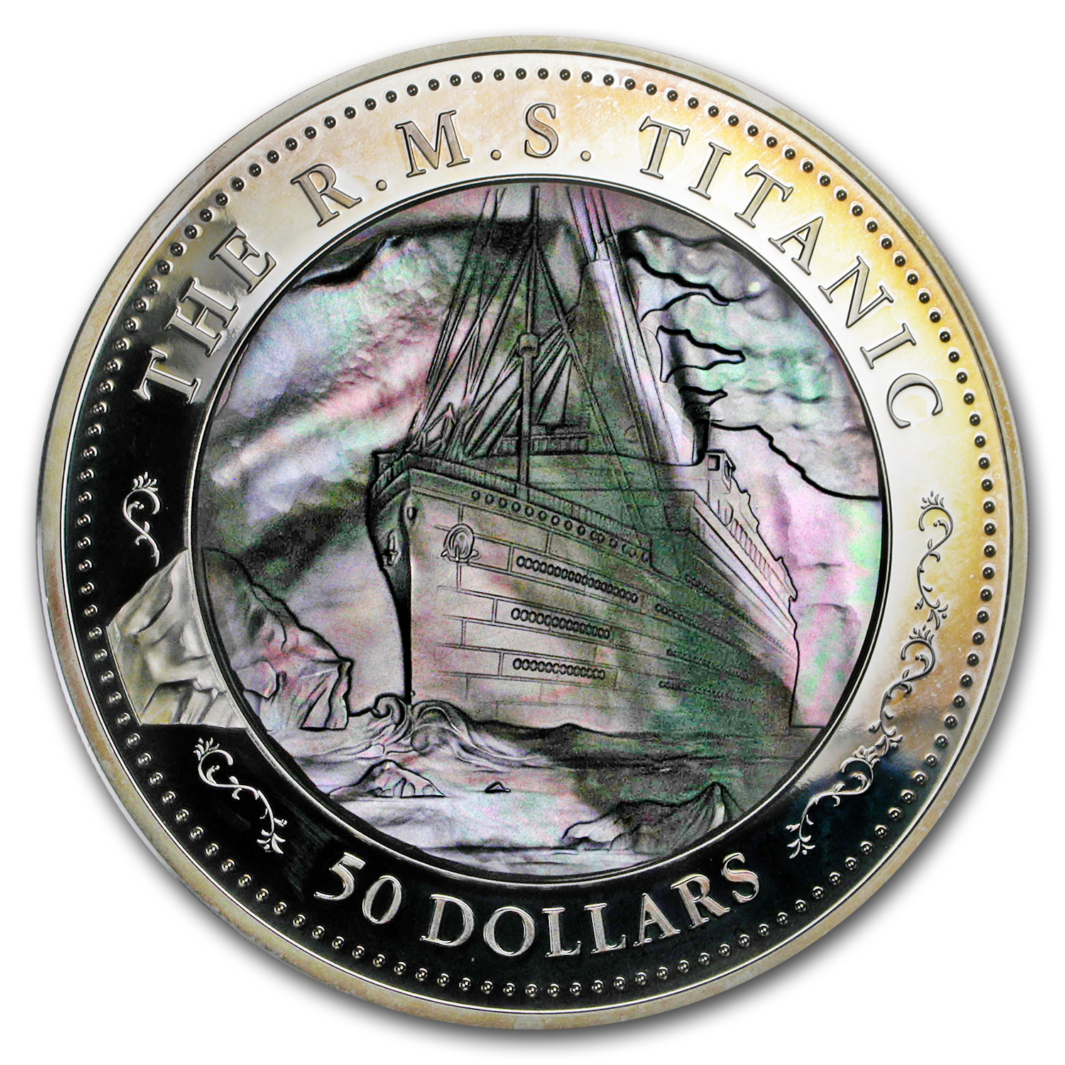 2012 Fiji 5 oz Silver $50 Titanic 100th Ann Mother of Pearl Prf