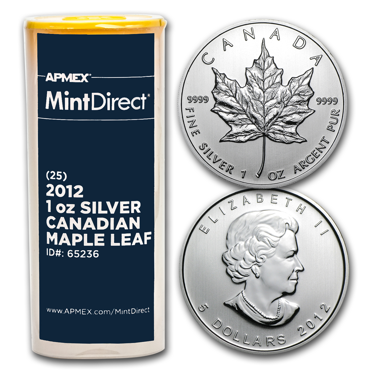 2012 Canada 1 oz Silver Maple Leaf (25-Coin MintDirect® Tube)