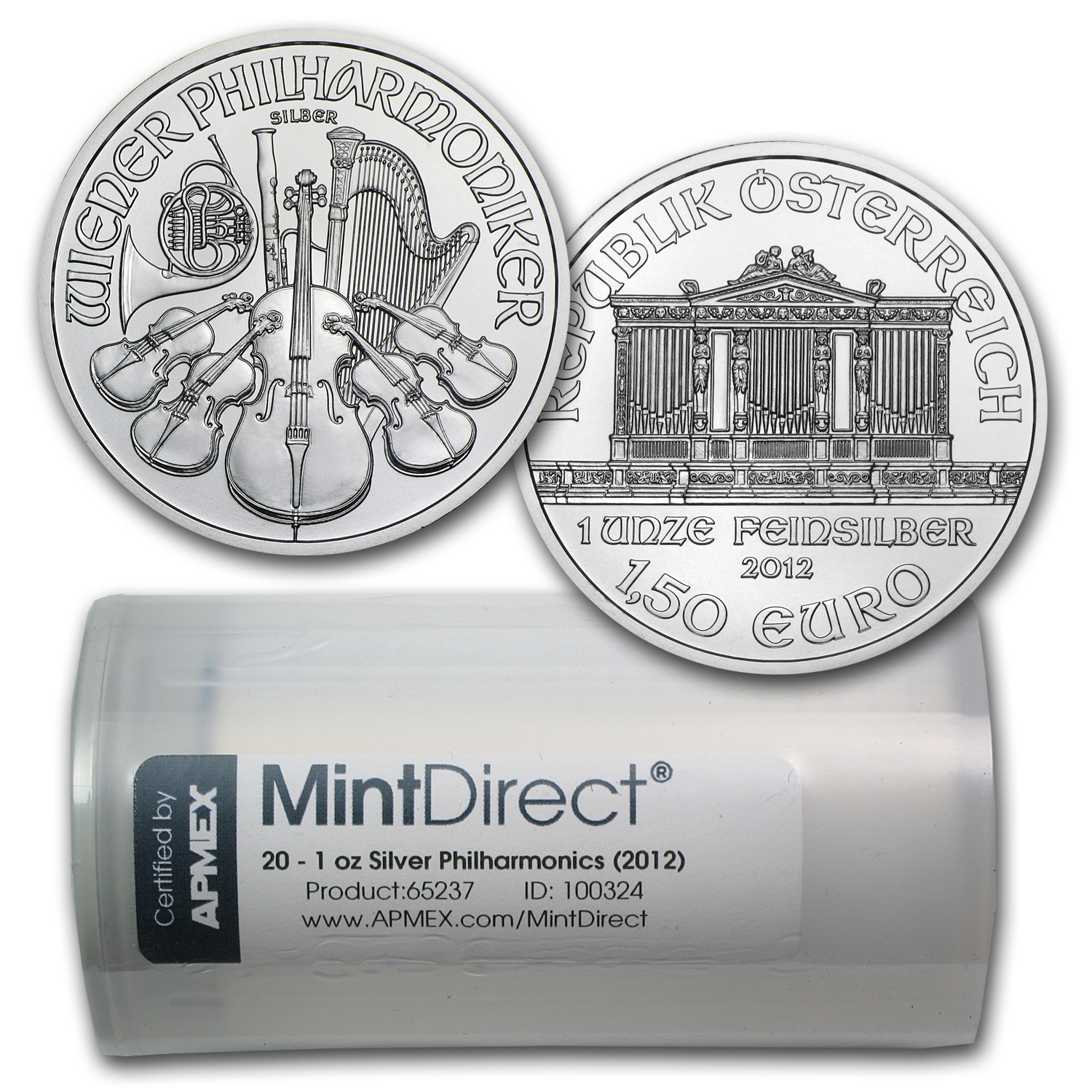 2012 1 oz Silver Philharmonics (20-Coin MintDirect® Tube)