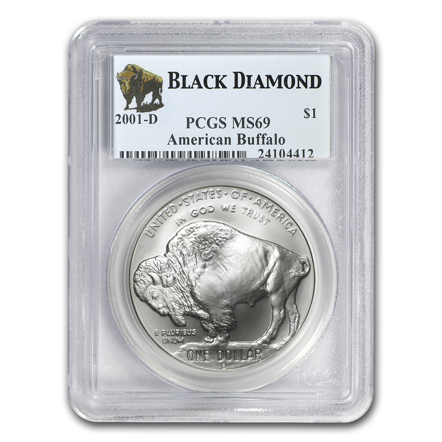 2001-D Buffalo Black Diamond $1 Silver Commem MS-69 PCGS