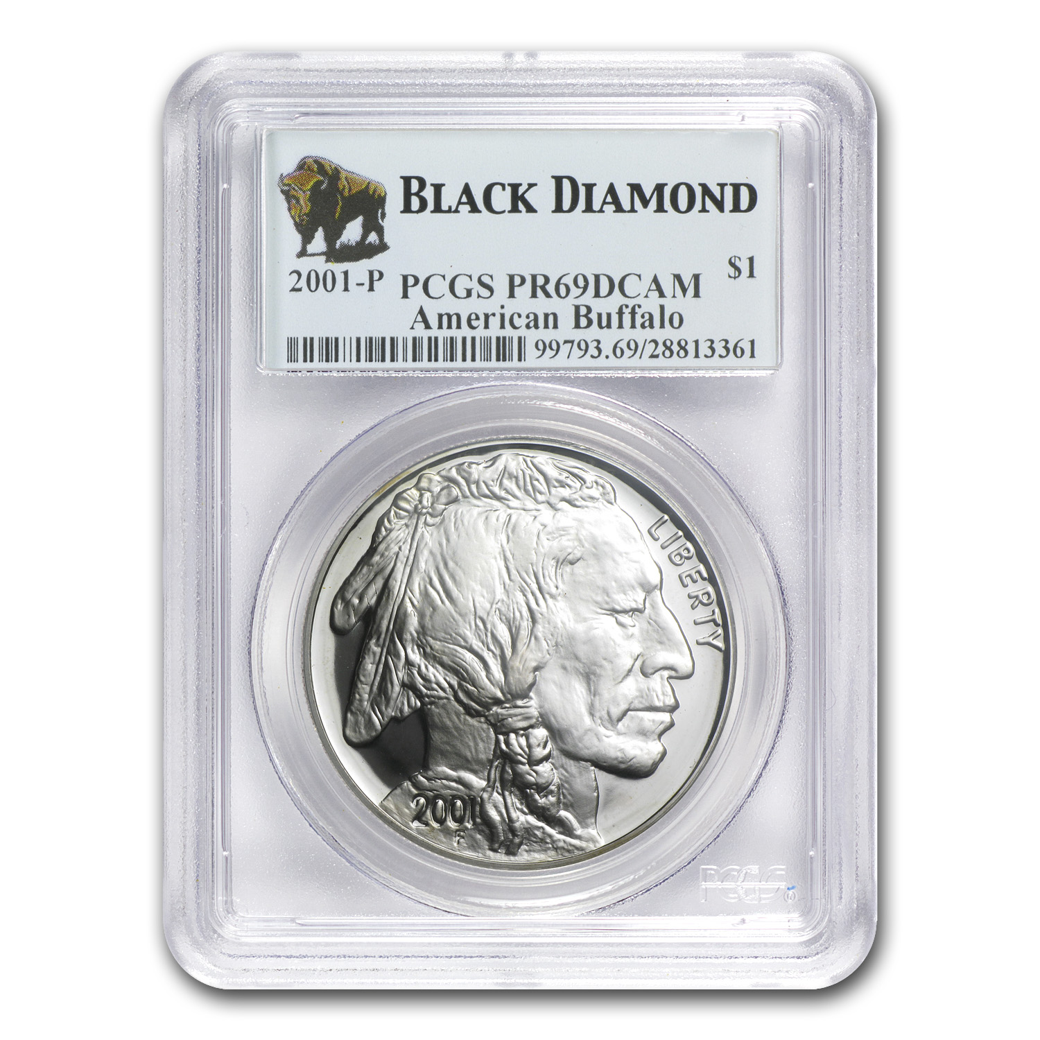 2001-P Buffalo Black Diamond $1 Silver Commem PR-69 PCGS