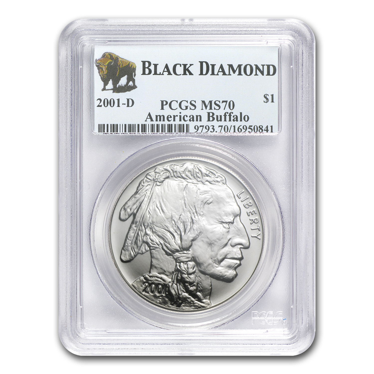 2001-D Buffalo Black Diamond $1 Silver Commemorative MS-70 PCGS