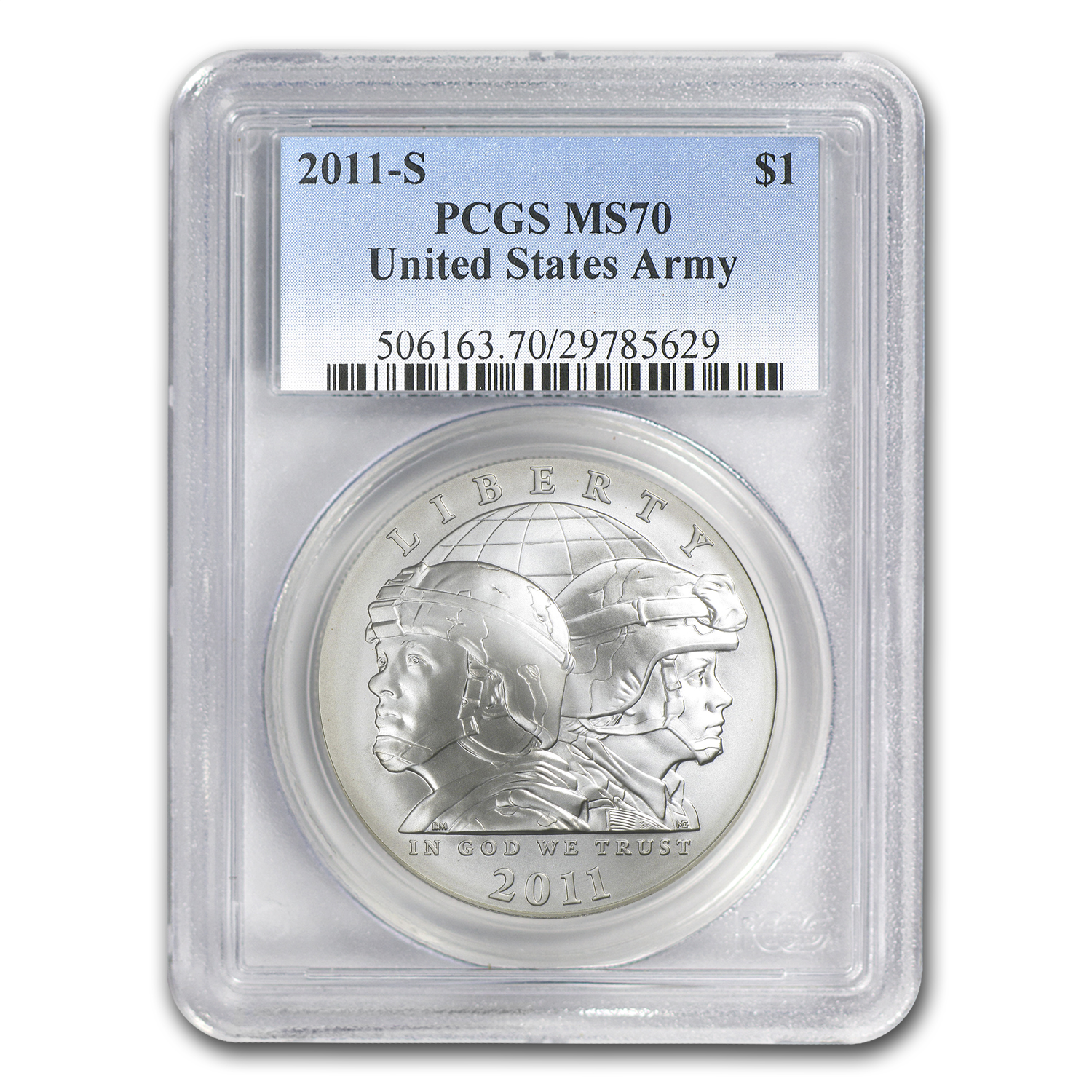 2011-S United States Army $1 Silver Commemorative MS-70 PCGS