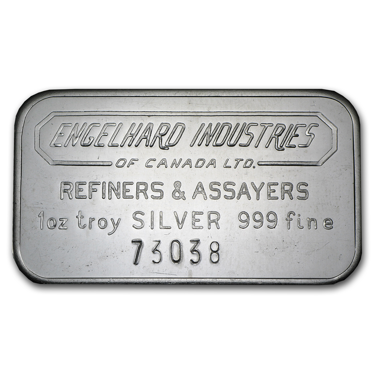 1 oz Silver Bar - Engelhard Industries of Canada (Wide, 5-digit)