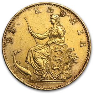 1880-1914 Denmark Gold 20 Kroner (Cleaned/Damaged)