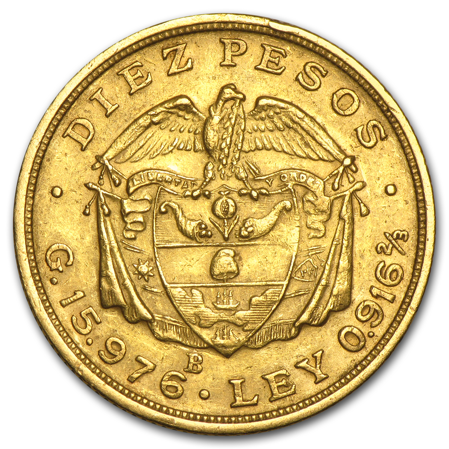Colombia 10 Pesos Gold Avg Circ (Random Dates)