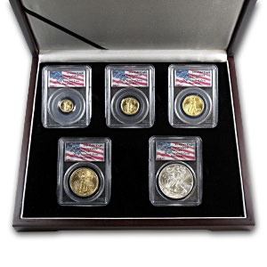 2001 5-Coin Gold & Silver Eagle Set Gem BU PCGS (WTC #1 of 269)