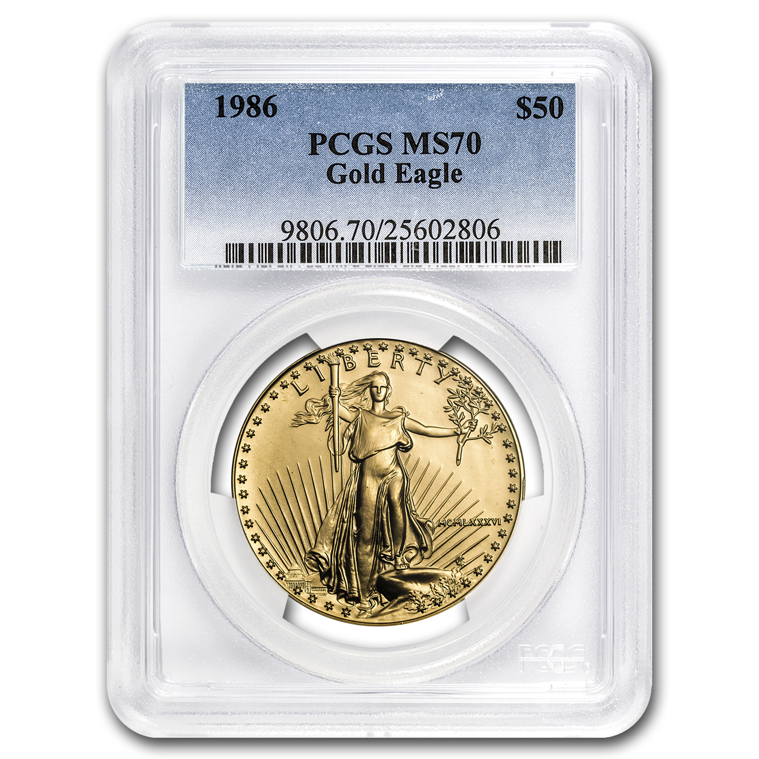 1986 1 oz Gold American Eagle MS-70 PCGS (Registry Coin)