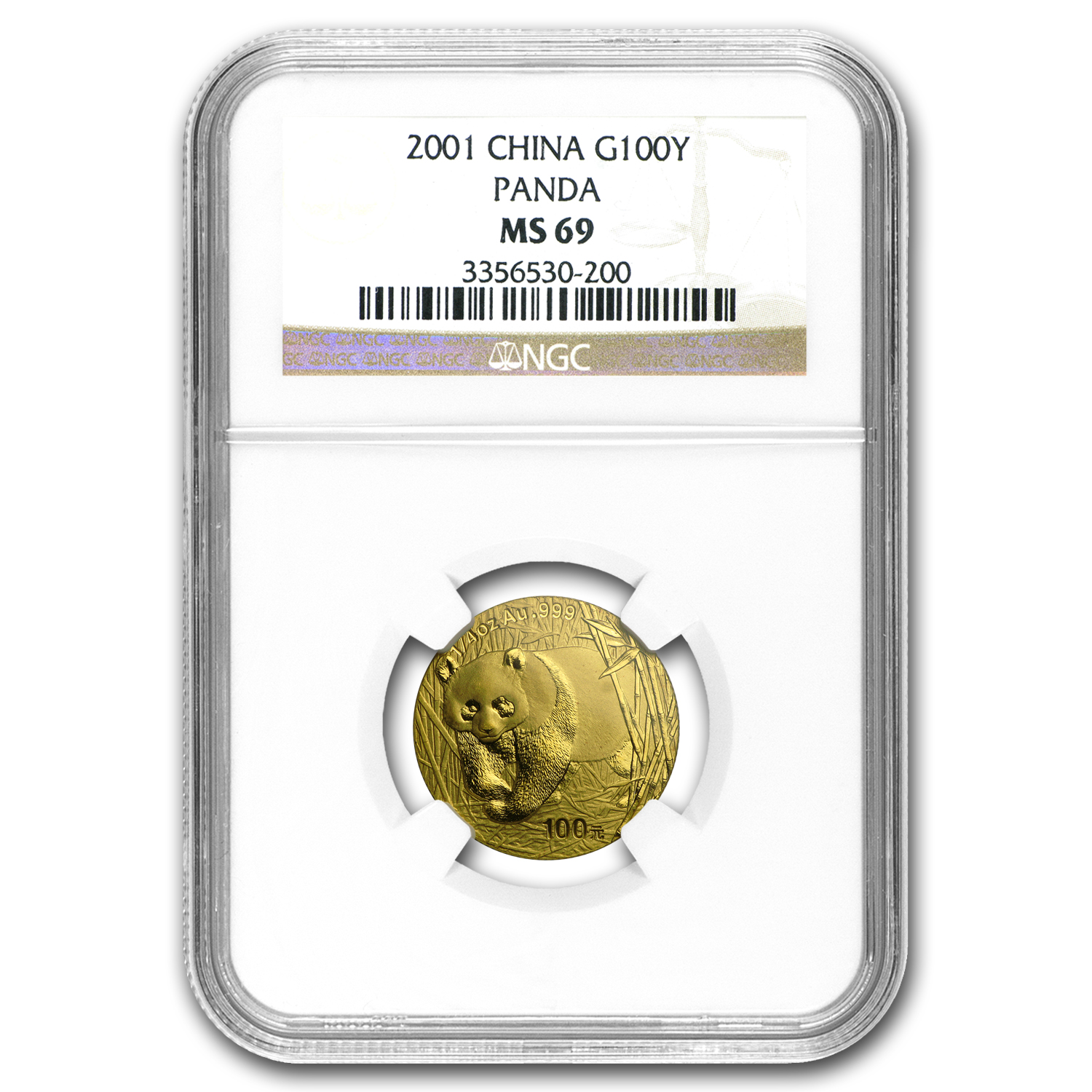 2001 1/4 oz Gold Chinese Panda MS-69 NGC