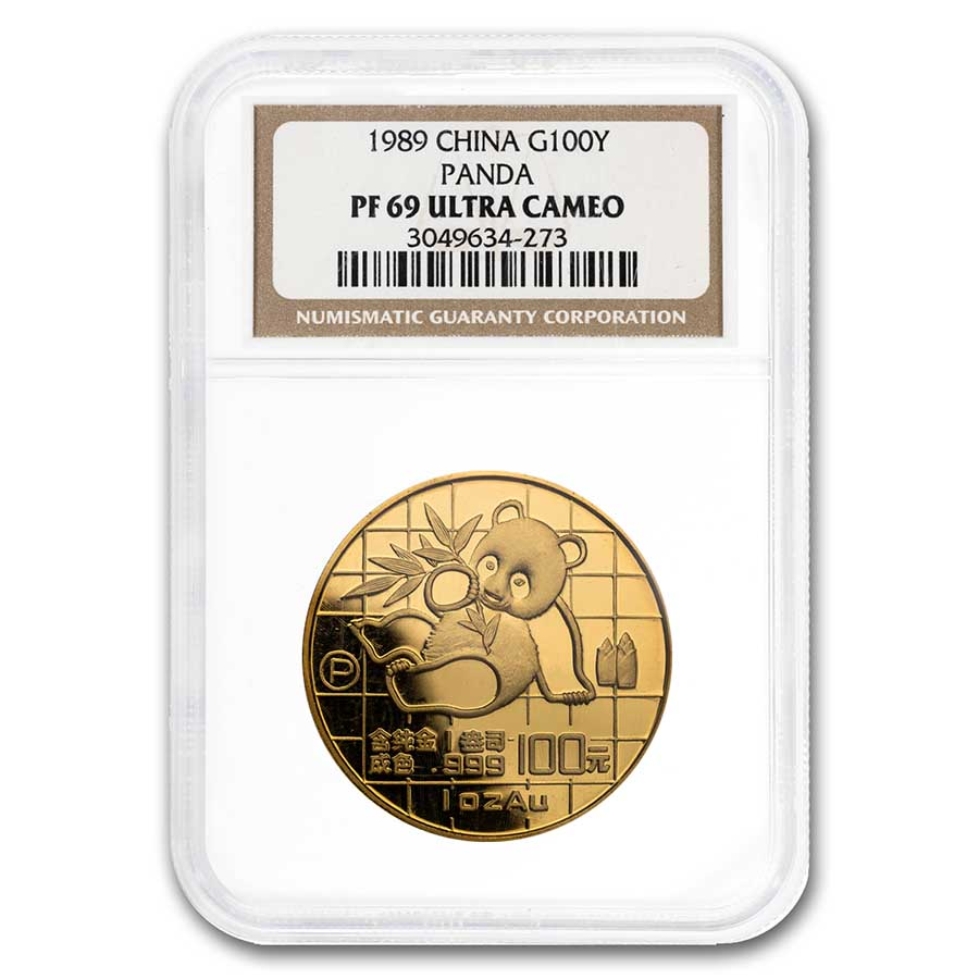 1989 China 1 oz Proof Gold Panda PF-69 NGC