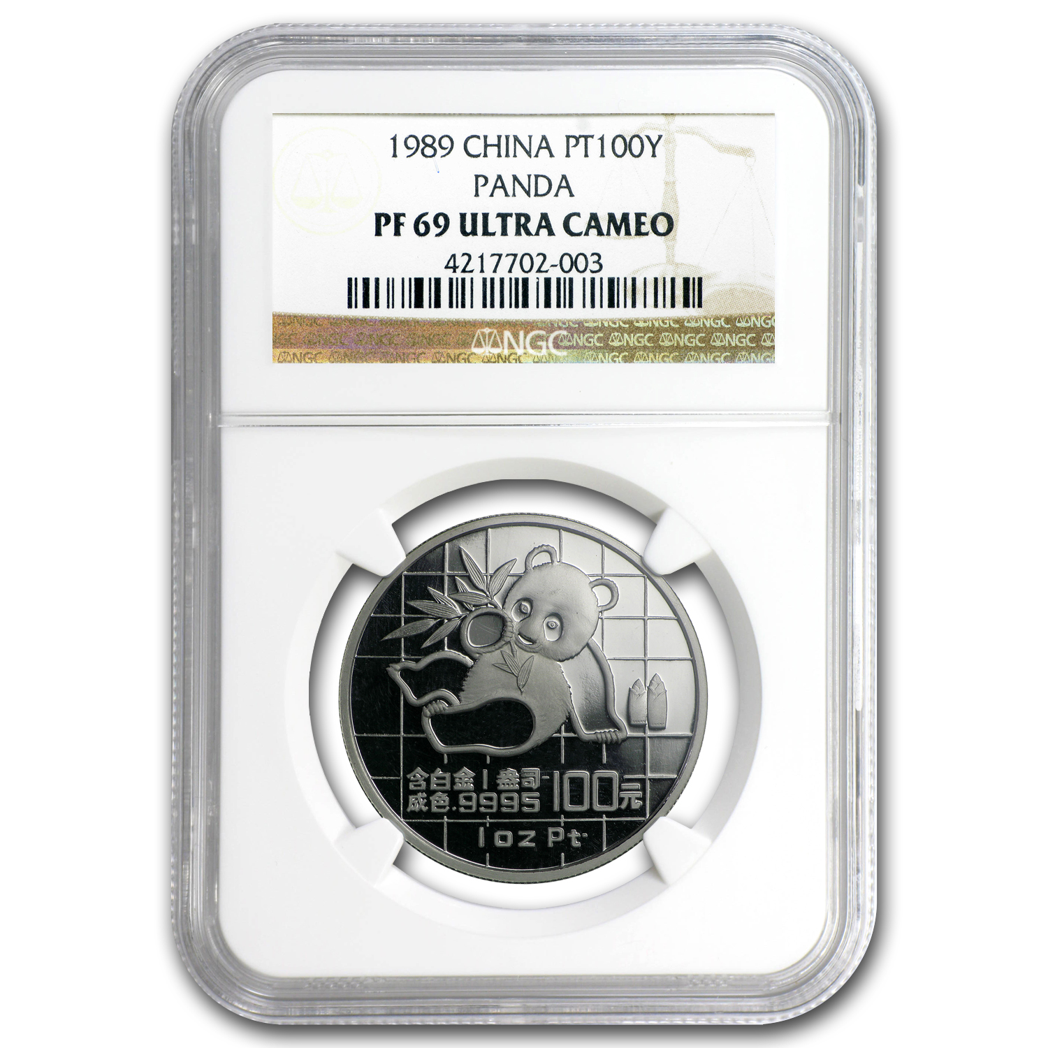 1989 China 1 oz Proof Platinum Panda PF-69 NGC