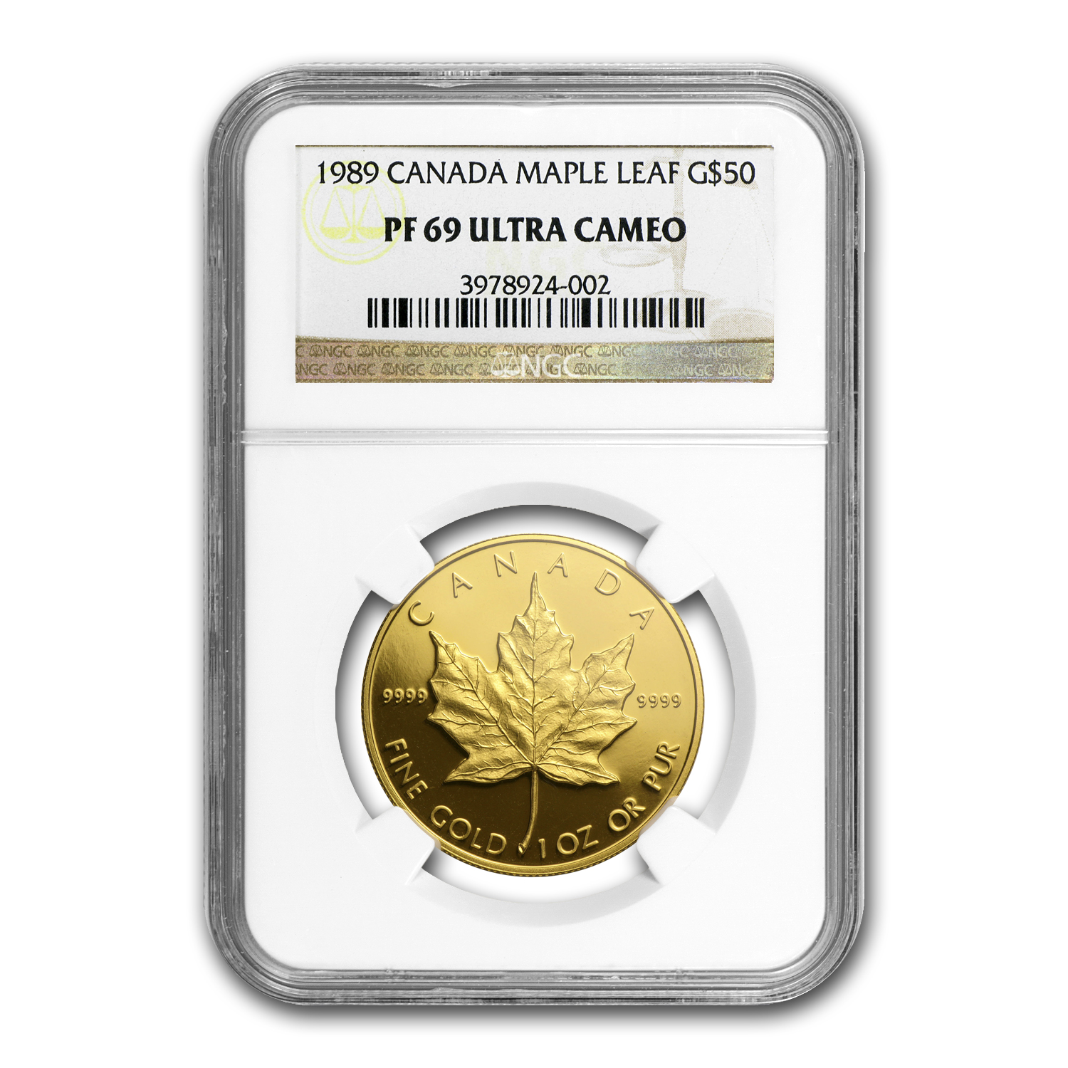 1989 1 oz Proof Gold Canadian Maple Leaf NGC PF-69 UCAM