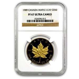 1989 1 oz Proof Gold Canadian Maple Leaf NGC PF-67