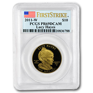 2011-W 1/2 oz Proof Gold Lucy Hayes PCGS PR-69 First Strike