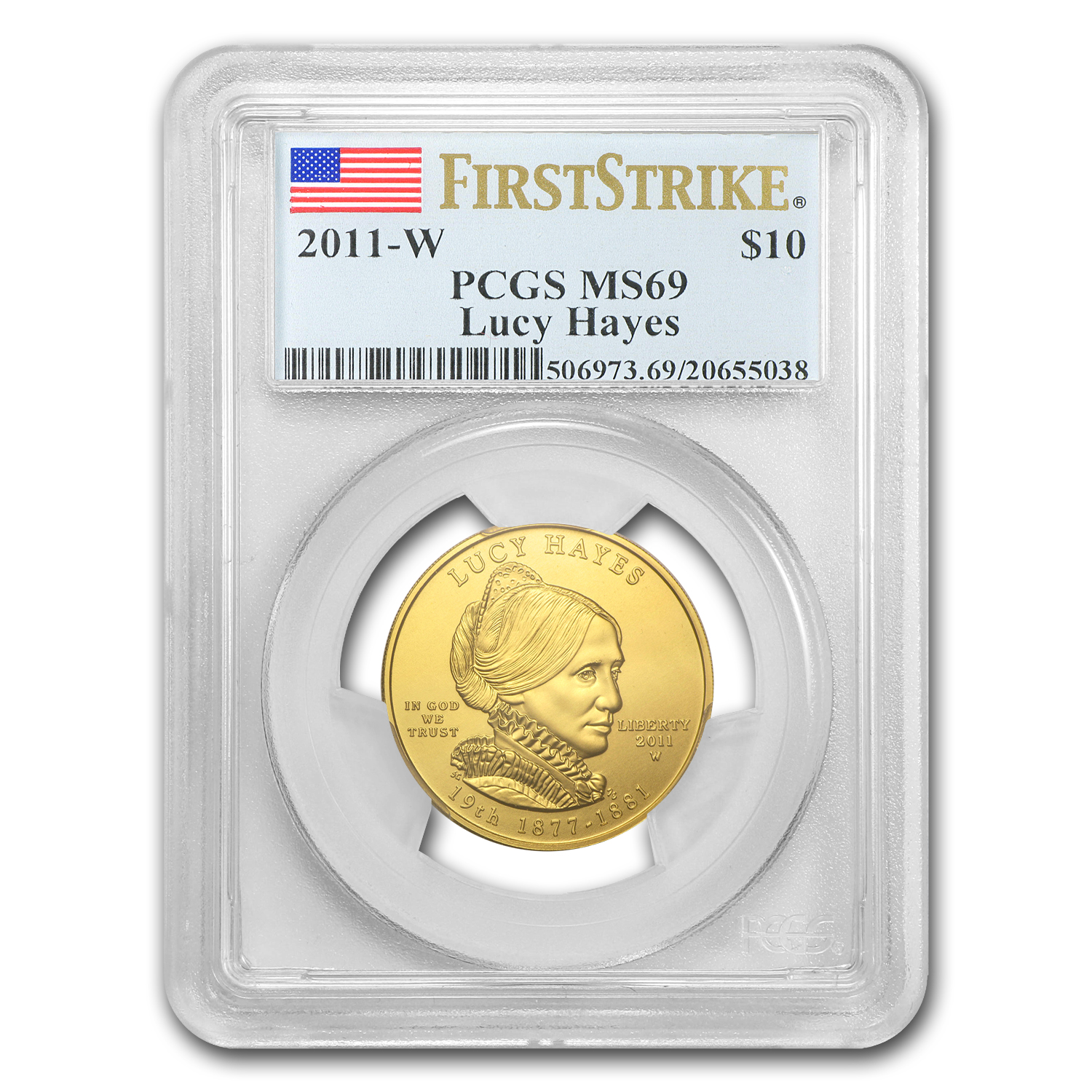 2011-W 1/2 oz Gold Lucy Hayes MS-69 PCGS (First Strike)