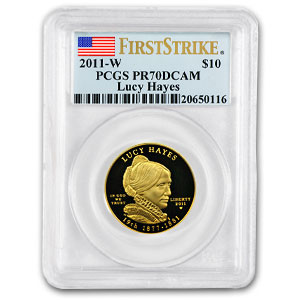 2011-W 1/2 oz Proof Gold Lucy Hayes PR-70 PCGS (First Strike)