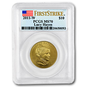 2011-W 1/2oz Uncirculated Gold Lucy Hayes PCGS MS-70 First Strike
