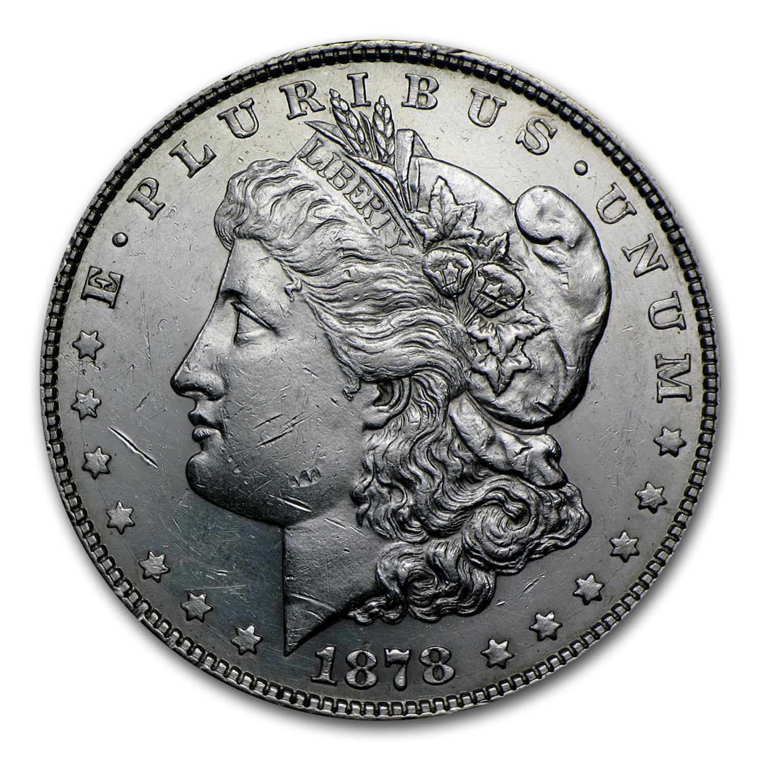 1878 Morgan Dollar 8 Tailfeathers BU Details (Cleaned)