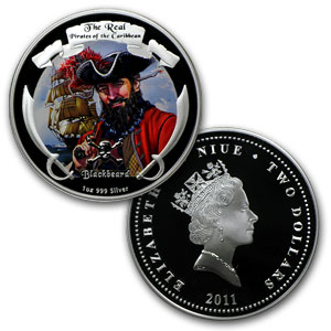 2011 4x 1 oz Silver Real Pirates of the Caribbean Treasure Chest